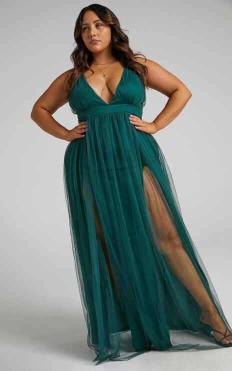 Like A Vision Dress In Emerald Tulle