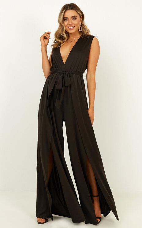 Striking Out Jumpsuit In Black