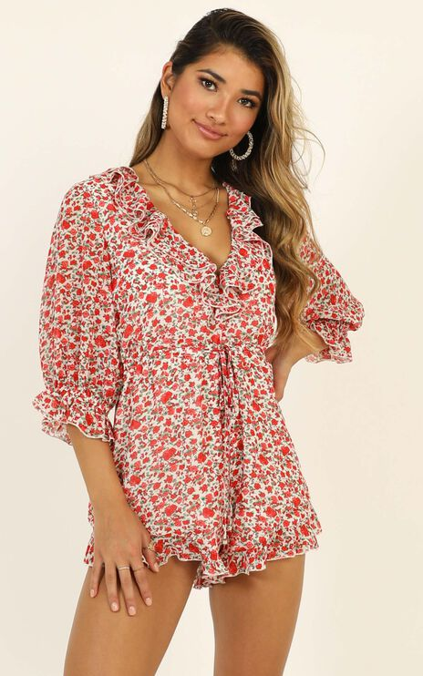 Full Of Life Playsuit in White Floral