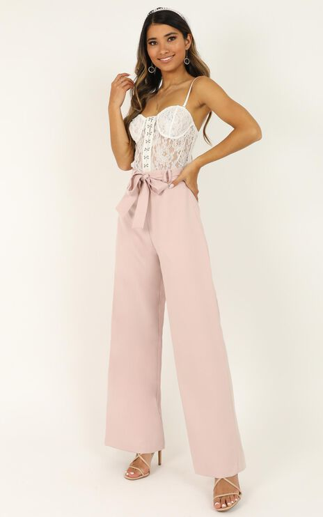 Miss Gold Pants In Blush