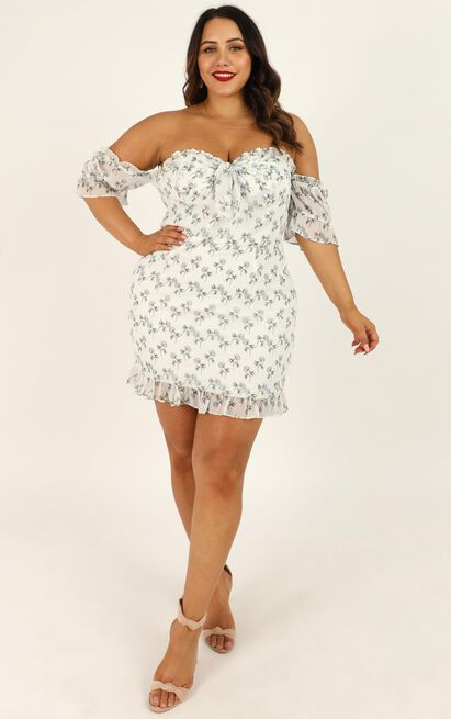 If Its You and I Dress In white floral - 20 (XXXXL), White, hi-res image number null