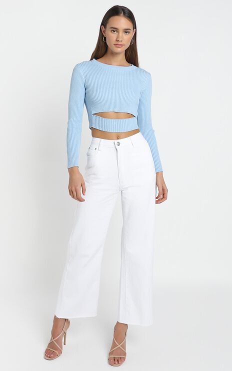 Pernille Knit Top in Baby Blue