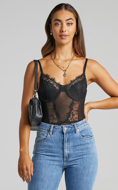 Melisa Panelled bodysuit in Black Lace