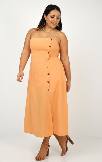 Rain On Me dress in sherbet linen look, Yellow, hi-res image number null