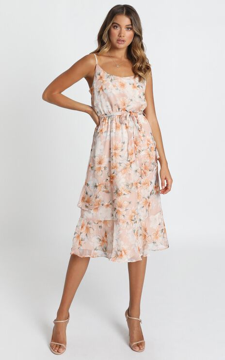 Dinah Frill Detail Midi Dress In Blush Floral