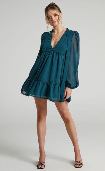 Janessa Tie Front Shift Mini Dress in Emerald