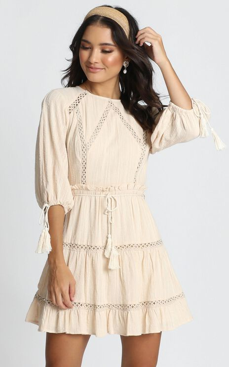 Edith Mini Dress in Beige Embroidery
