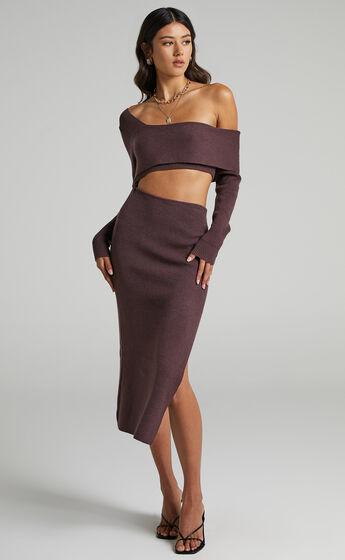 Alabama Assymetrical Knit Midi Dress in Chocolate