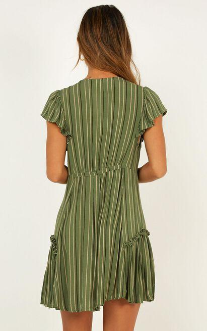 Four Leaf Clover dress in khaki stripe - 12 (L), Khaki, hi-res image number null