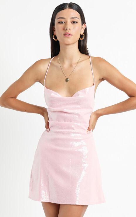 Before Your Time Dress In Pink Sequin