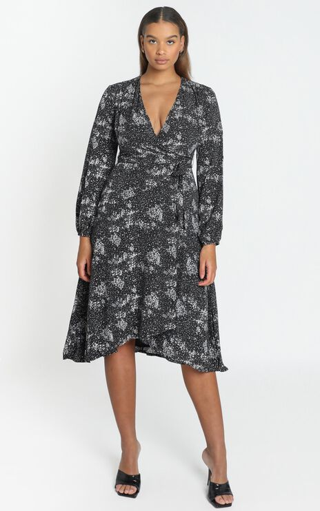 Tuscan Fields Dress in Black Floral