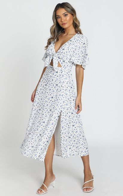 Wild And Free Mind Dress in white floral - 20 (XXXXL), White, hi-res image number null