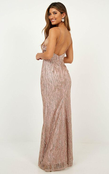 Fever Night Dress In Rose Gold Sparkle