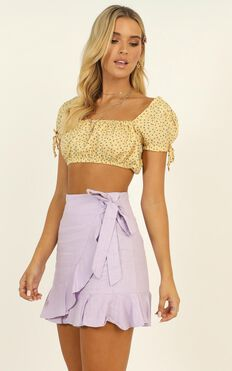 Not Fair Top In Yellow Floral