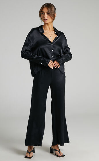 SNDYS - Rising Star Satin Shirt in Black