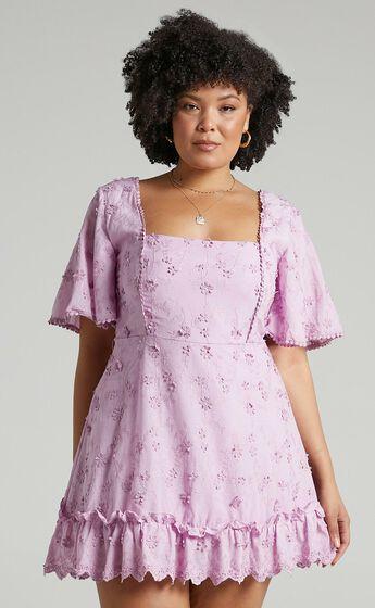 Fancy A Spritz Square Neck Mini Dress in Lilac
