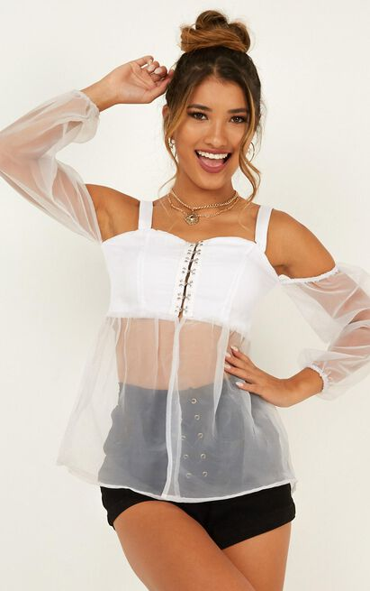 Keeping Close Top in white organza - 12 (L), White, hi-res image number null