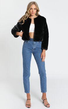 Genevieve Faux Fur Jacket in Black
