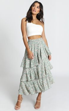 Fashion Parade Skirt In Green Floral