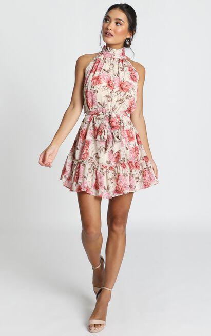 Celeste Mini Dress in rose floral - 14 (XL), Pink, hi-res image number null