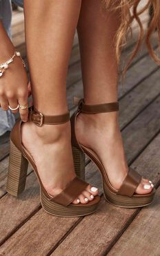 Showpo X Billini - Tahiti Heels In Dark Tan