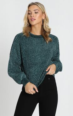 Staying Right Here Jumper In Emerald Velvet Knit