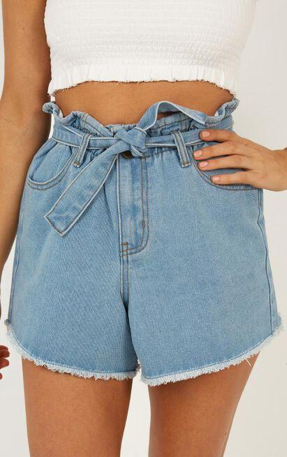Falling Feeling Denim Shorts in Light Wash - 12 (L), Blue, hi-res image number null