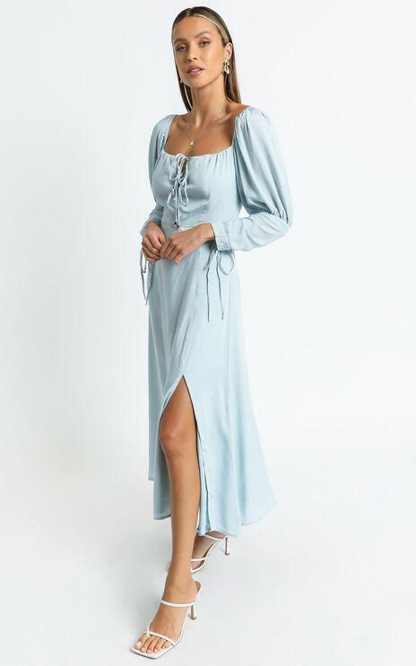 Ansel Dress in Blue Linen Look