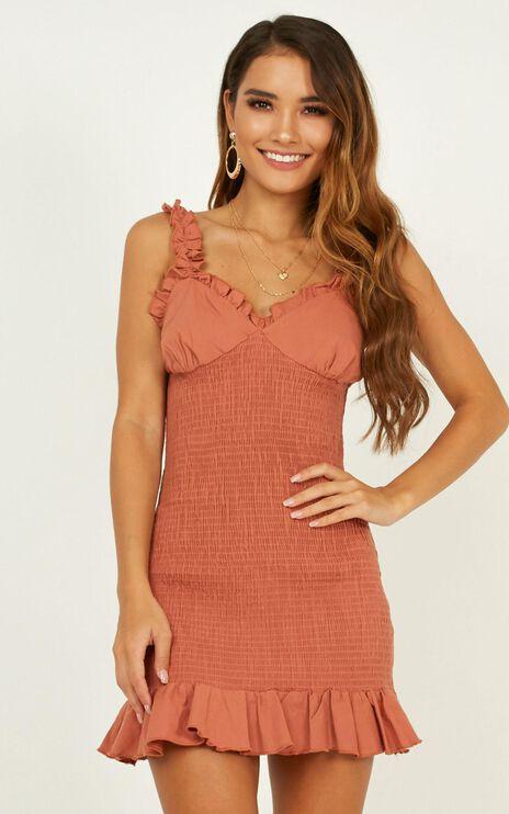 Sheer Lust Dress In Rust Linen Look