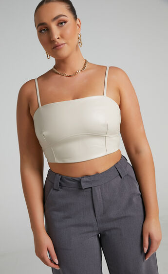 Maxwell Under Bust Detail Crop Top in Taupe