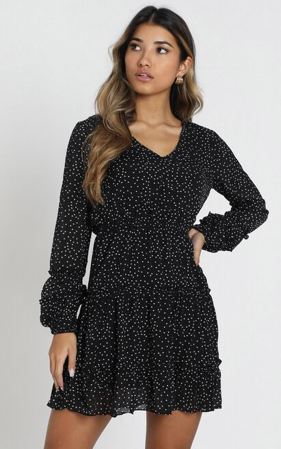 Devroux V-Neck Dress in black spot - 6 (XS), Black, hi-res image number null