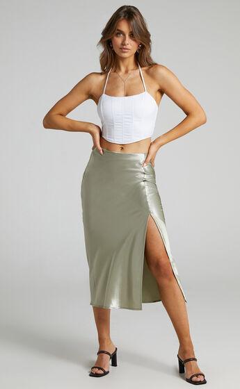 Runaway The Label - Carmen Slip Skirt in Sage