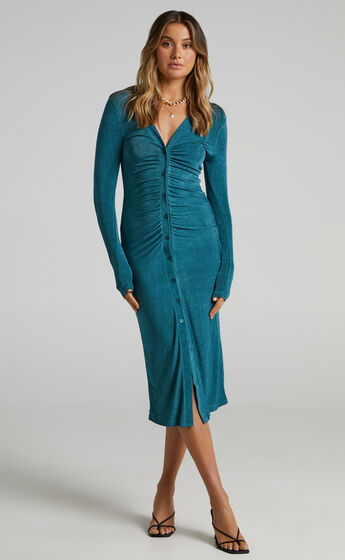 Keagan Ruched Button Front Midi Dress in Emerald
