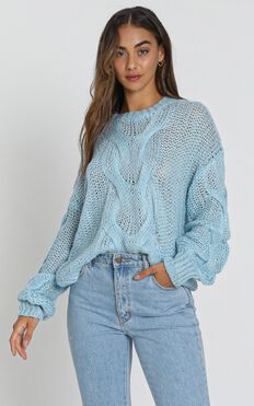 Jules Cable Knit Jumper in  Blue