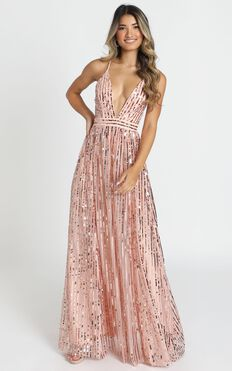 Youre The One Maxi Dress In Rose Gold Sequin