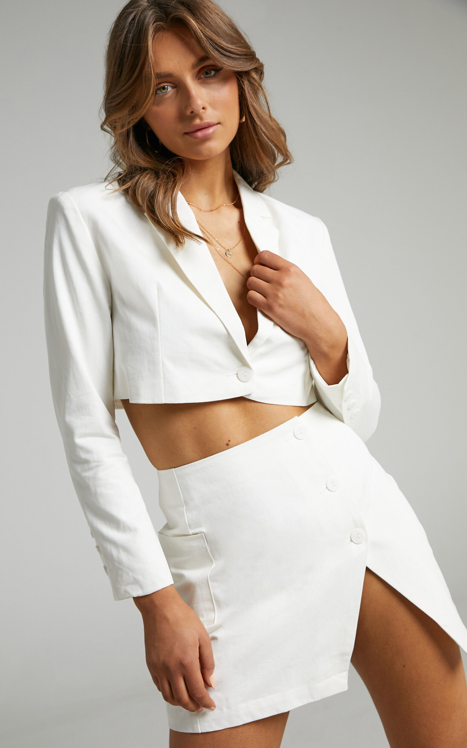 Runaway The Label - Toni Cropped Blazer in White - L, WHT1, super-hi-res image number null