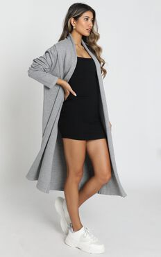 Strong Spirited Knit Coat In Grey Marle