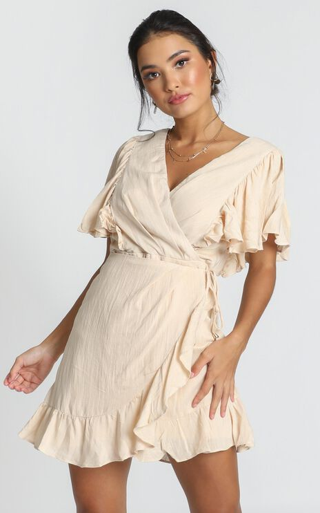 Phyllis Frill Wrap Dress In Beige