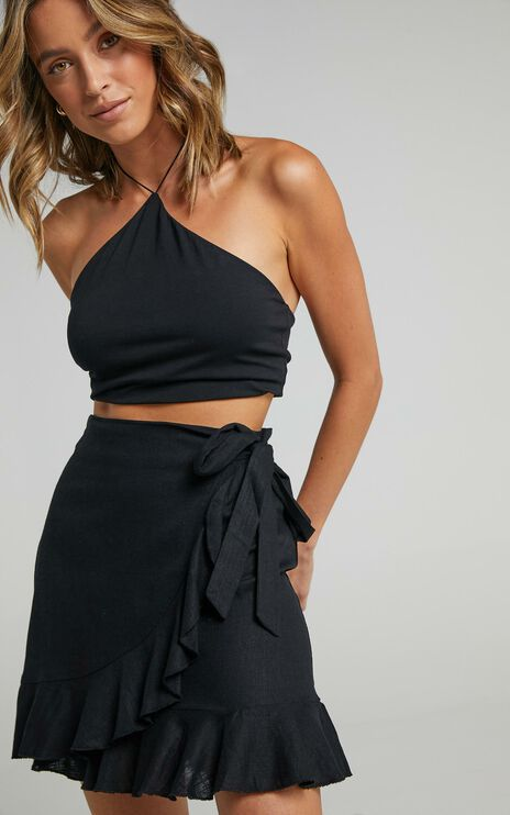 Over And Under Skirt In Black Linen Look