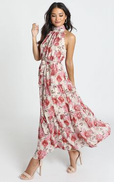 Cooling Power Maxi Dress In Rose Floral