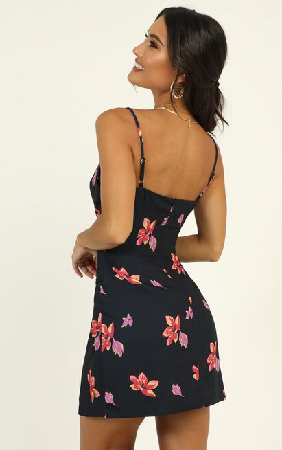 Endless Stories dress in navy floral - 16 (XXL), Navy, hi-res image number null