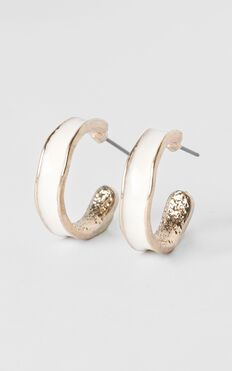 Travel List Hoop Earrings in Gold and White