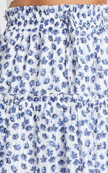Flower Time Is Now skirt in blue floral chiffon  - 20 (XXXXL), Blue, hi-res image number null