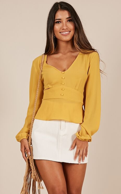 Fast As A Flash Top In Mustard