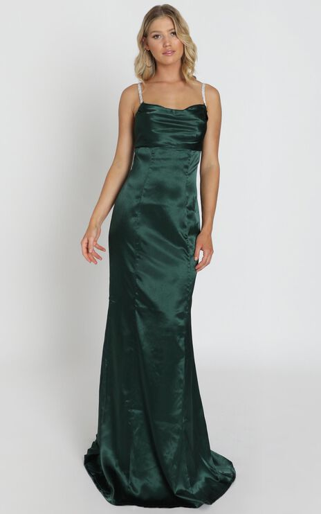 Alysha Diamante Strap Maxi Dress In Emerald Green Satin
