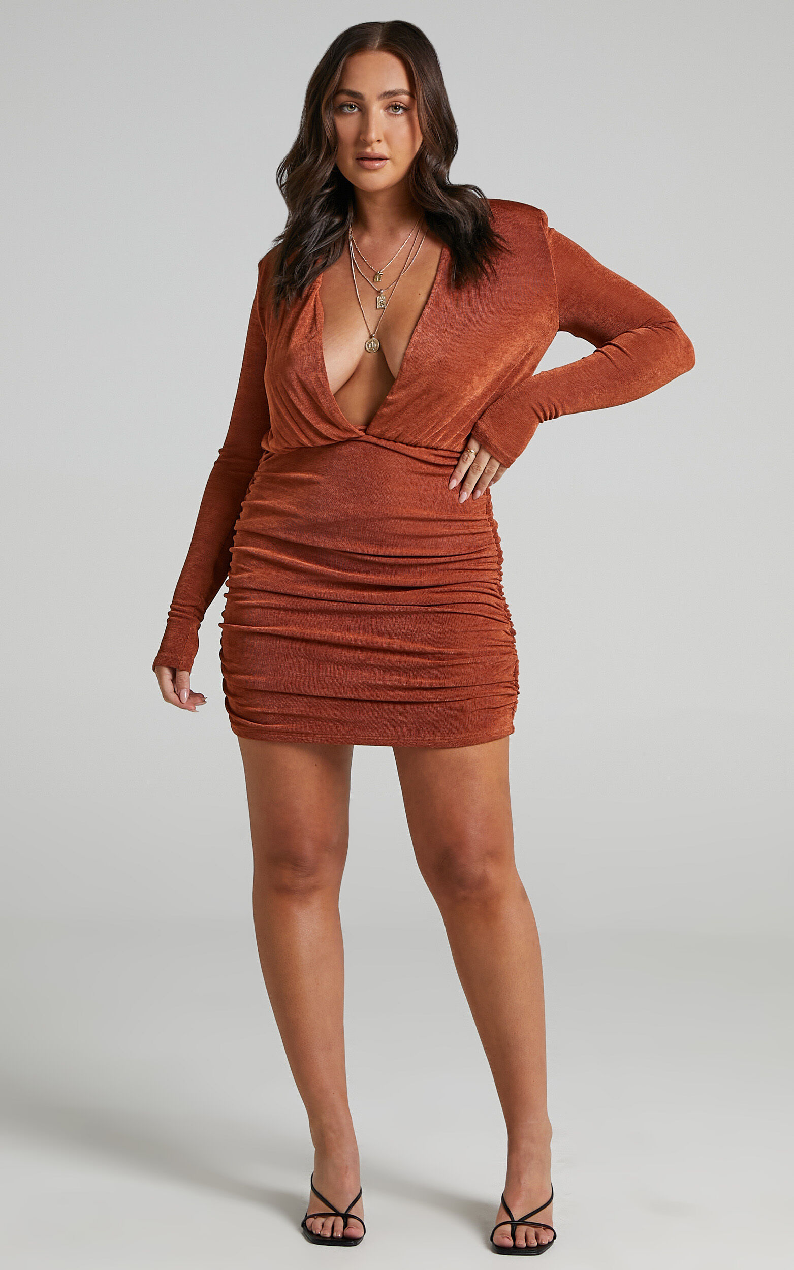 Kaitie Mini Deep V Open Front Ruched Dress in Paprika - 06, RED4, super-hi-res image number null