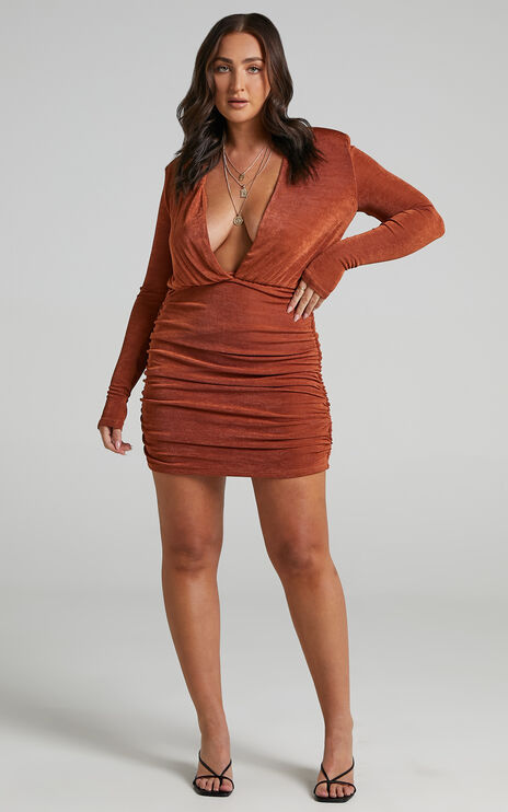 Kaitie Mini Deep V Open Front Ruched Dress in Paprika