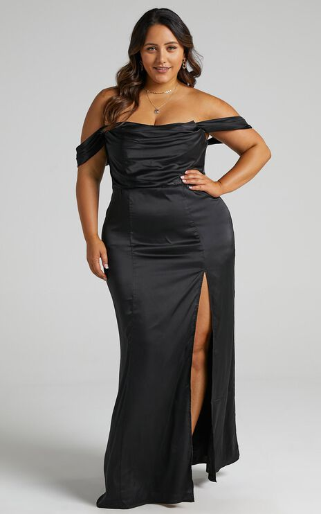 Faye Off the Shoulder Maxi Dress in Black Satin