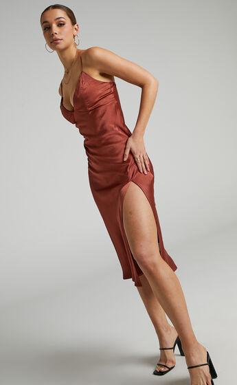 Joahanna Satin Slip Dress in Rust