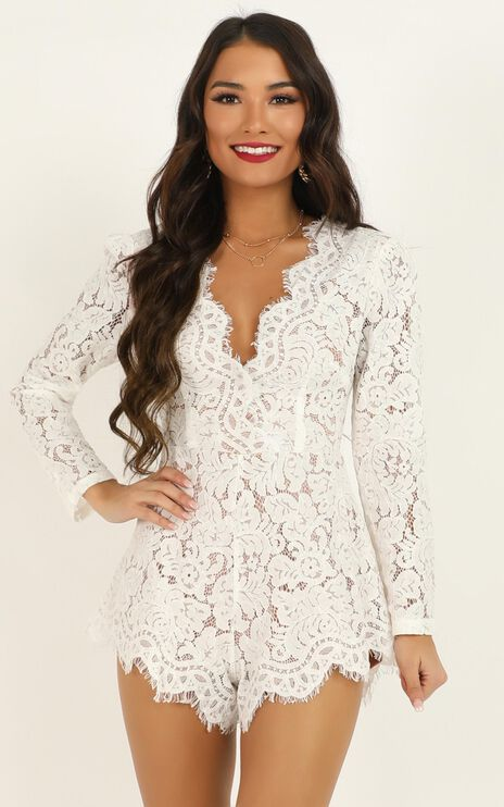 Felt Good Playsuit In White Lace